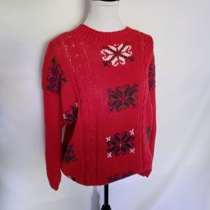 Vintage 80's red Christmas snowflake sweater